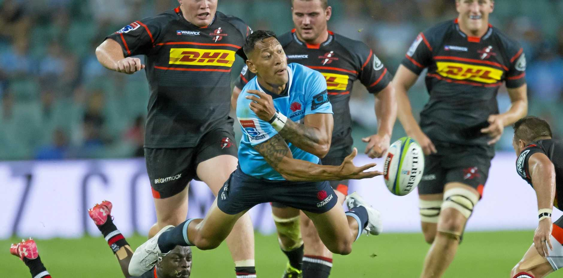 Star Waratah and Wallaby Israel Folau, pictured offloading against the South Africa Stormers, has caused a storm of controversy by saying gays are destined for hell unless they repent.