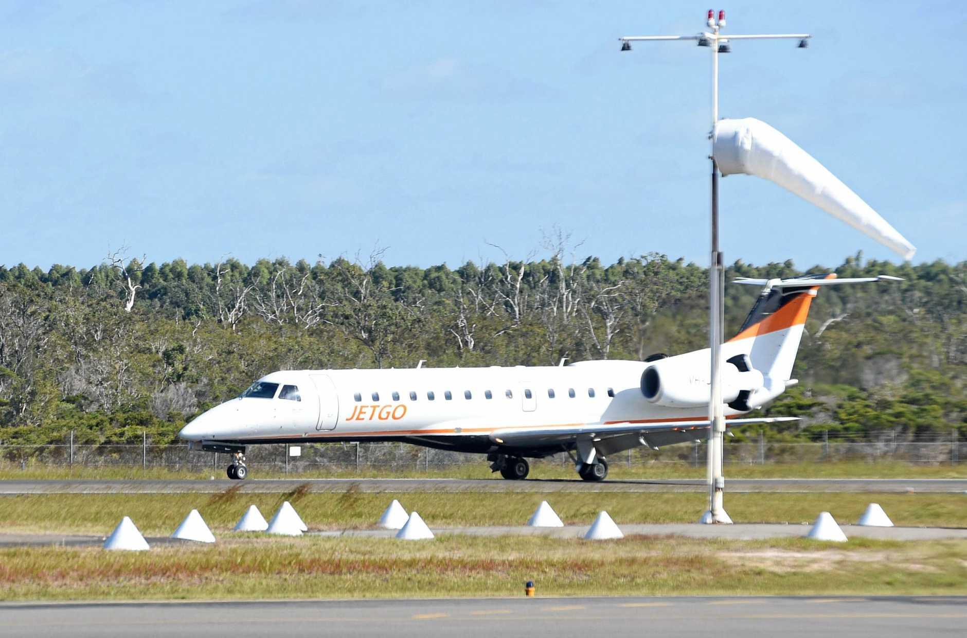 The first Jetgo plane arrives in Hervey Bay.