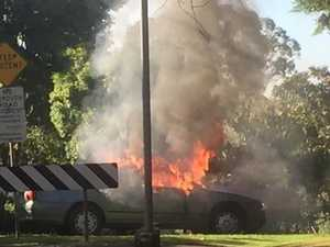 Men on the run after car set on fire in Mount Lofty