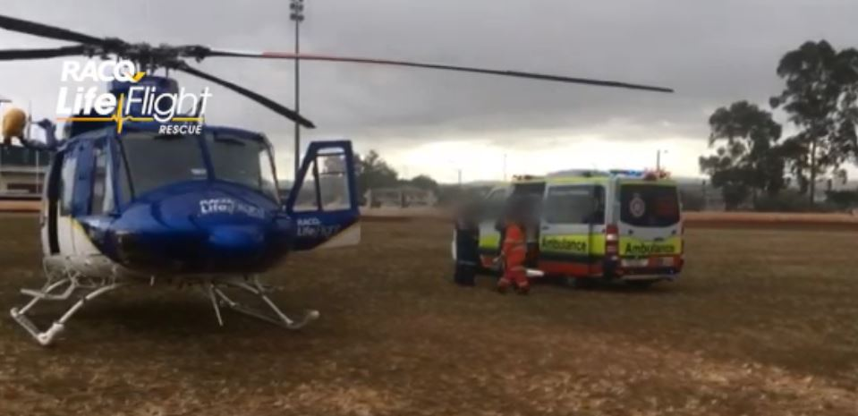 RACQ LifeFlight airlift a man, 24, to Brisbane after a crash in Gatton.