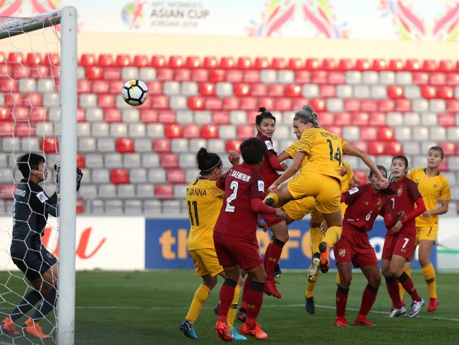 Alanna Kennedy's booming header save Australia's blushes.