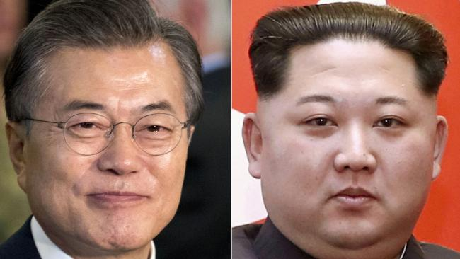 South Korean President Moon Jae-in and North Korean leader Kim Jong Un are to meet next month amid talks of an armistice. Picture: AP