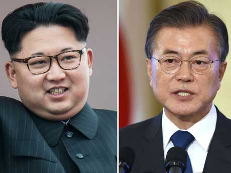 Kim Jong Un (L) and Moon Jae-In are scheduled to meet at the end of April — only the third time that the leaders of the divided Koreas have met in the 65 years since the end of the Korean War. Picture: AFP