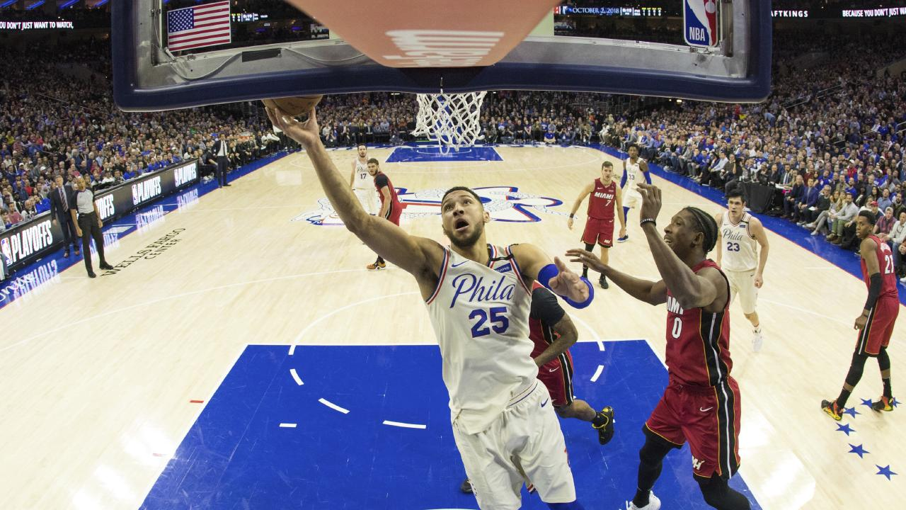 Ben Simmons finds his way to the rim in game two. Picture: Chris Szagola/AP