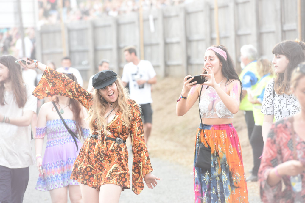 Punters and lights at Splendour in the Grass 2016. Photo Marc Stapelberg / The Northern Star