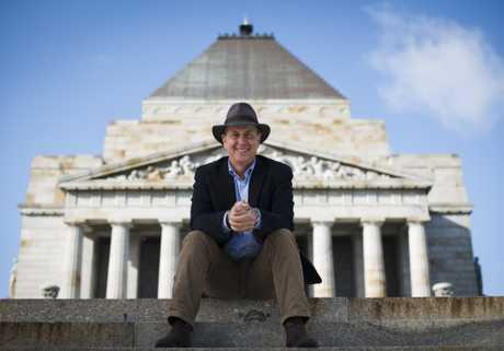 Peter Greste pictured at the Shrine of Remembrance in Melbourne in a scene from the TV documentary General Monash and Me.