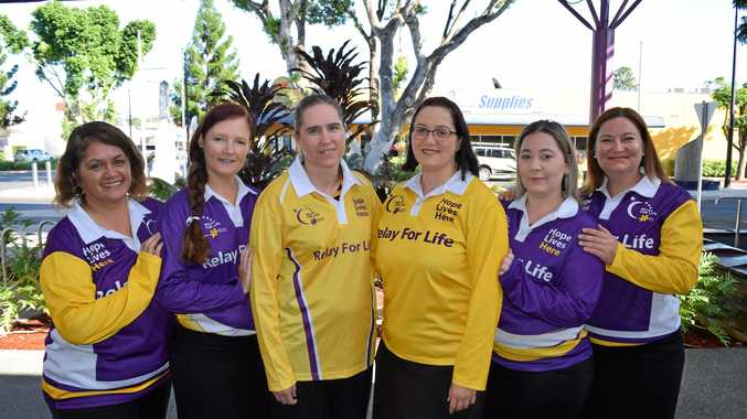 PURPLE POWER: Central Highlands Relay For Life committee members Mahue De Veere, Nicole Rickards, Tanya Conway, Lisa Conway, Kayla Ross and Tash Todd encourage people to join them at the event launch this weekend at the Central Highlands Marketplace.