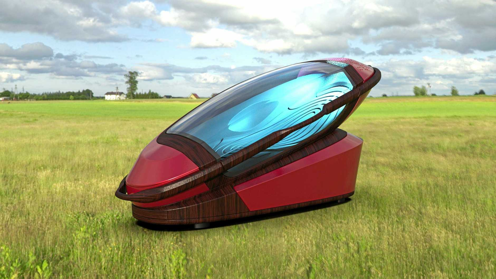 The Sarco machine - a capsule designed to assist suicide. it can be manufactured with a 3D printer and the base can be re-used.