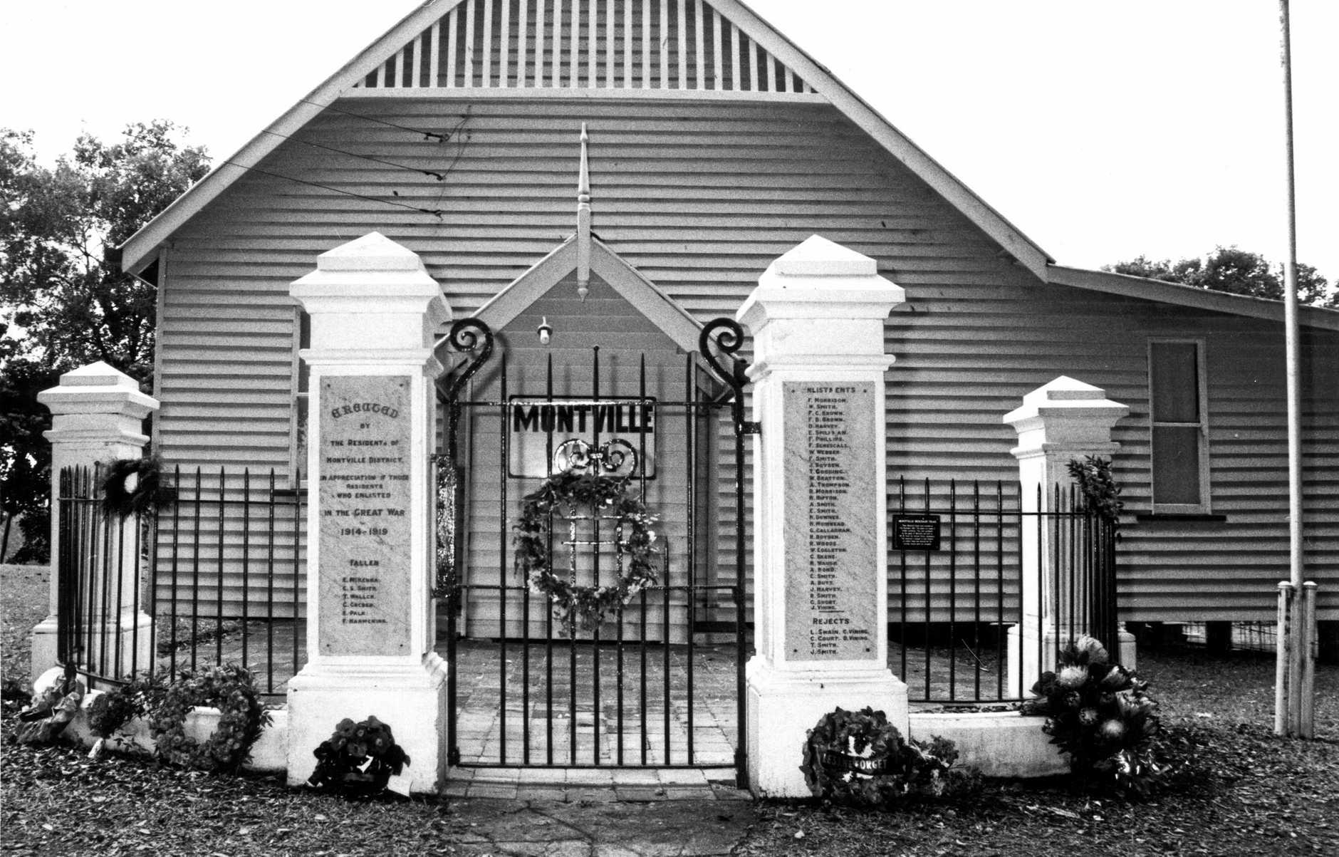 The Montville Hall and Memorial Gates - just one of the many memorials built across Australia after World War I.