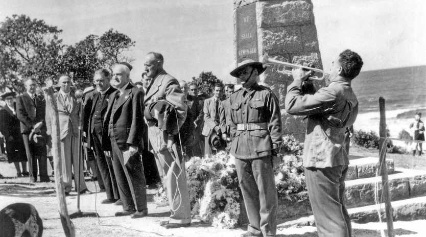 TRIBUTE: An Anzac Day service at the Caloundra Headland War Memorial, ca 1950.