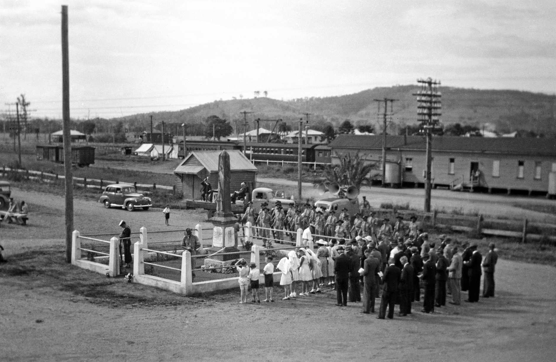 Anzac Day service at the War Memorial, Yandina, 1940s.