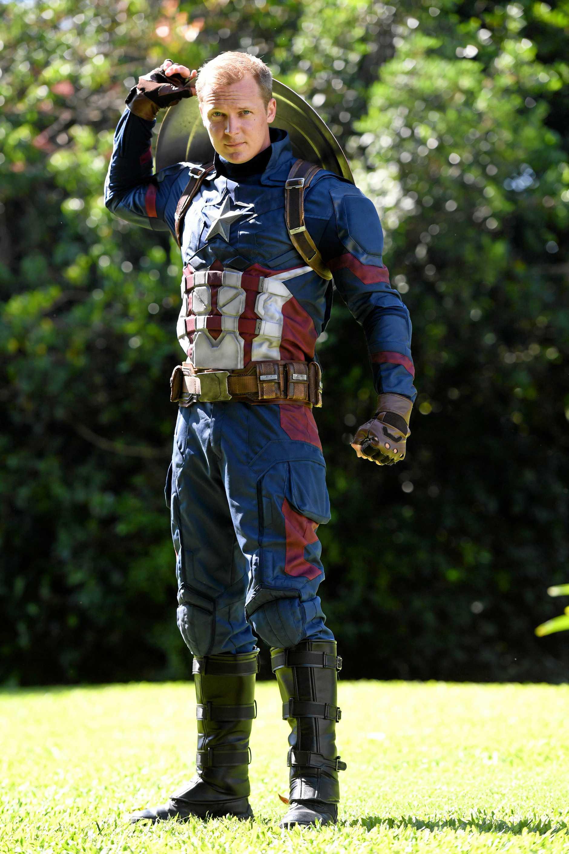 SUPER HERO: Ethan Ramsey as Captain America.