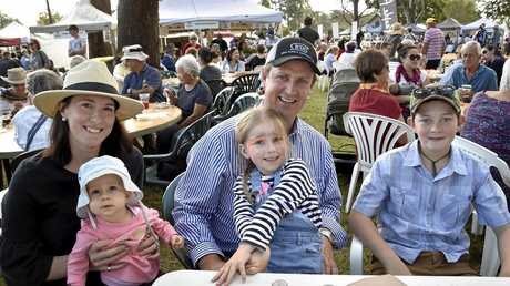 Sarah and David Sorley enjoy the atmosphere with kids (from left) Sophie and Olive Sorley and Jack Campbell at the 2017 Hampton Festival. Hampton Food & Wine Festival;. May 2017