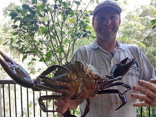 Scott McVey catches a nice crab.