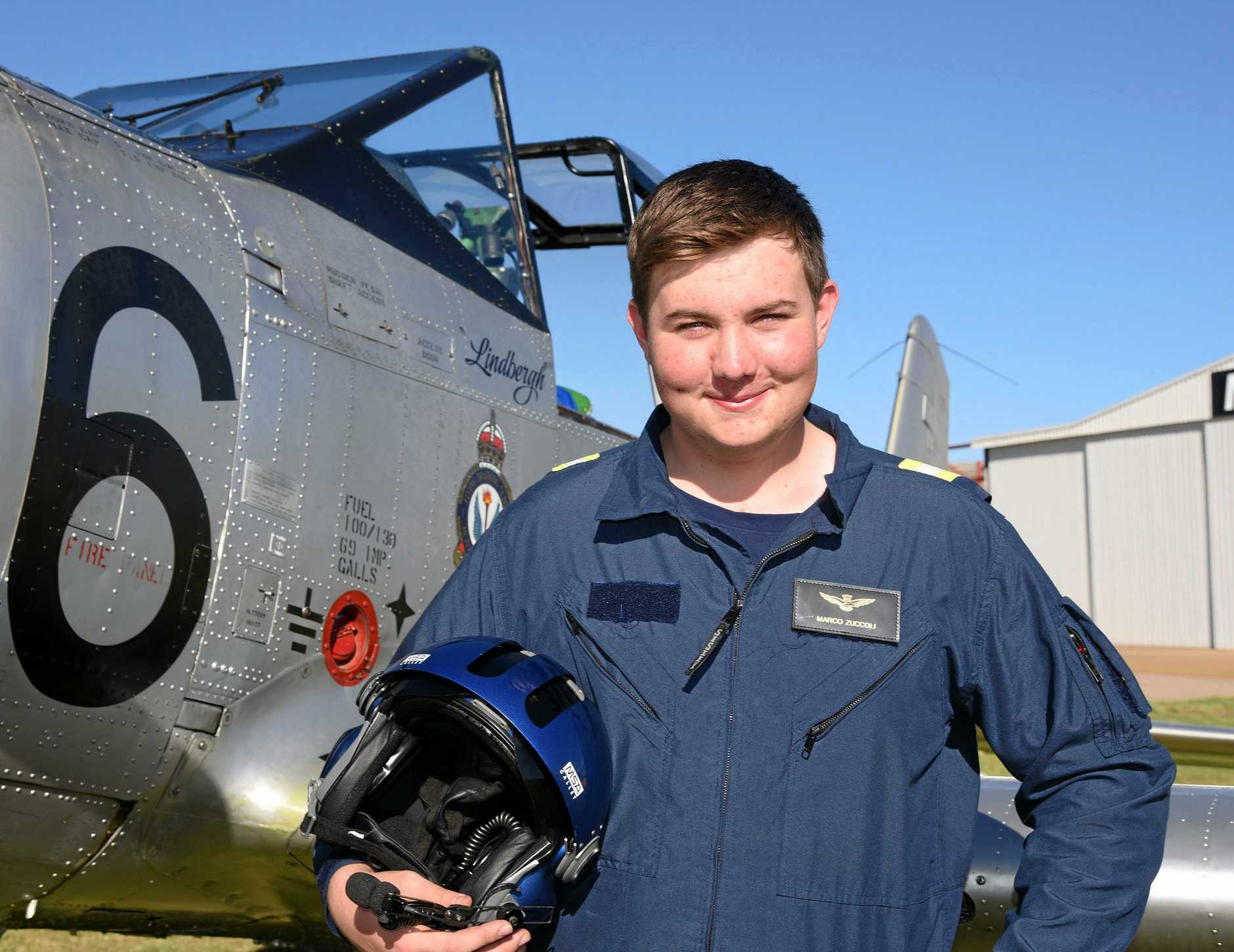 GOING SOLO: Toowoomba's Marco Zuccoli-Handley is Australia's youngest warbird pilot after he took a solo trip in a CAC Winjeel at the age of 16 last week.