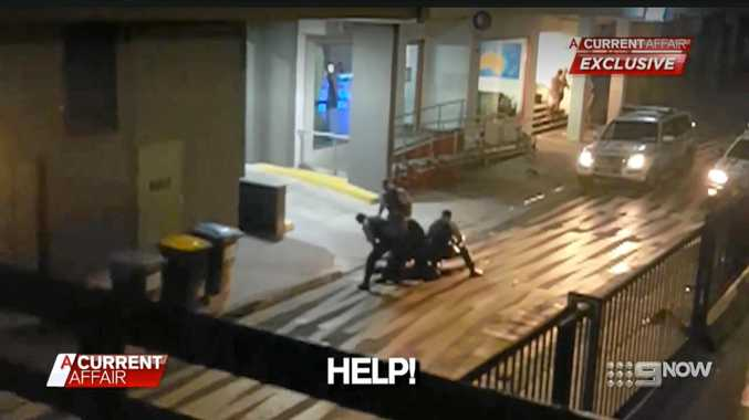 Footage from A Current Affair of a police arrest at Lateen Lane, Byron Bay.