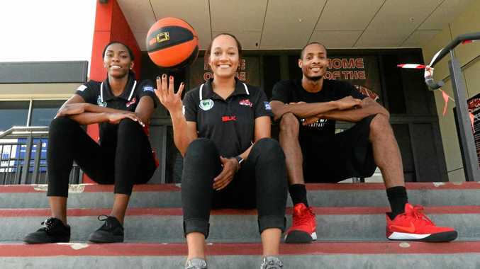 STARS ALIGNING: Mackay Basketball's imports Ruvanna Campbell, Mia Loyd and Titus Robinson get acquainted with The Crater.