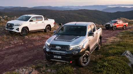 Toyota HiLux Rogue luxury edition (left), the Rugged X flagship (centre) based on the SR5, and the regular Rugged model based on the HiLux SR (right). Picture: Supplied.
