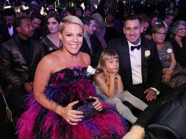 Pink with daughter Willow and husband Carey Hart at the 2018 Grammy Awards.  Picture:  Getty