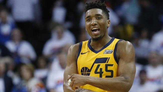 Utah Jazz guard Donovan Mitchell celebrates after the Jazz's win over the Oklahoma City Thunder in game two.  Picture: AP