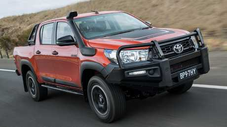 The HiLux Rugged is based on the SR not the SR5 and comes with the standard steel bullbar to better handle animal strikes on rural roads. Picture: Supplied.
