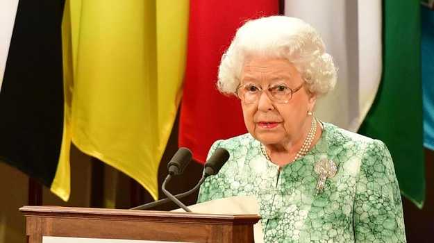The Queen speaks at the formal opening of the Commonwealth Heads of Government Meeting at Buckingham Palace. Picture: AFP