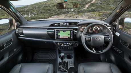 The Rogue and Rugged X are based on the HiLux SR5 and get new instrumentation and black highlights in the dash, but Apple Car Play, extra USB ports and a digital speedo are still absent. Picture: Supplied.