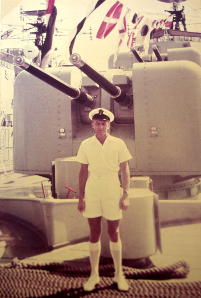 Petty Officer Arthur Malin on the deck of HMAS Voyager.