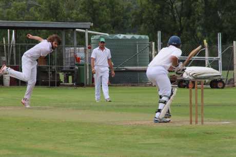 Forest Hill's Corey Teske bowls to Gatton Fordsdale batsman Daniel Pollock during the Lockyer Cricket Association's Grand Final on Saturday, March 25, 2017.