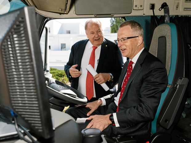 SAFETY FIRST: Trucking legend Ron Finemore gives Minister for Urban Infrastructure and Cities Paul Fletcher a demonstration.