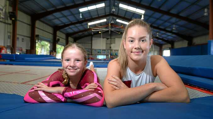 PRIMED TO GO: Victoria Park's Scarlett Price, 10, and Britney Glazebrook, 16, will be among the 140 competitors in action at the Gymnastics Queensland Trampoline 2018 State Championships in Rockhampton this weekend.