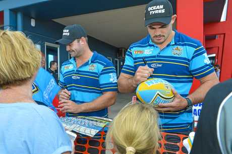 Gold Coast Titans arrive at Gladstone's Ocean Tyres to meet and greet with fans on April 6, 2018.