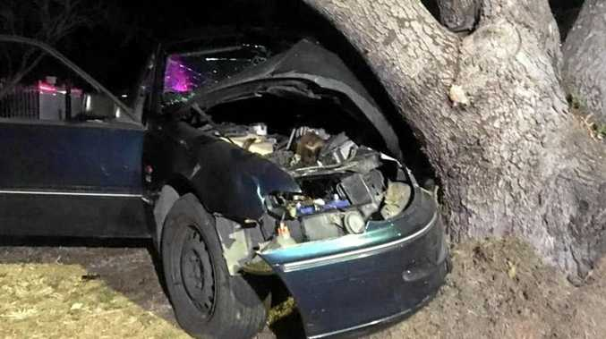 A woman in her 20s is in a serious condition after her car ploughed into a tree last night.