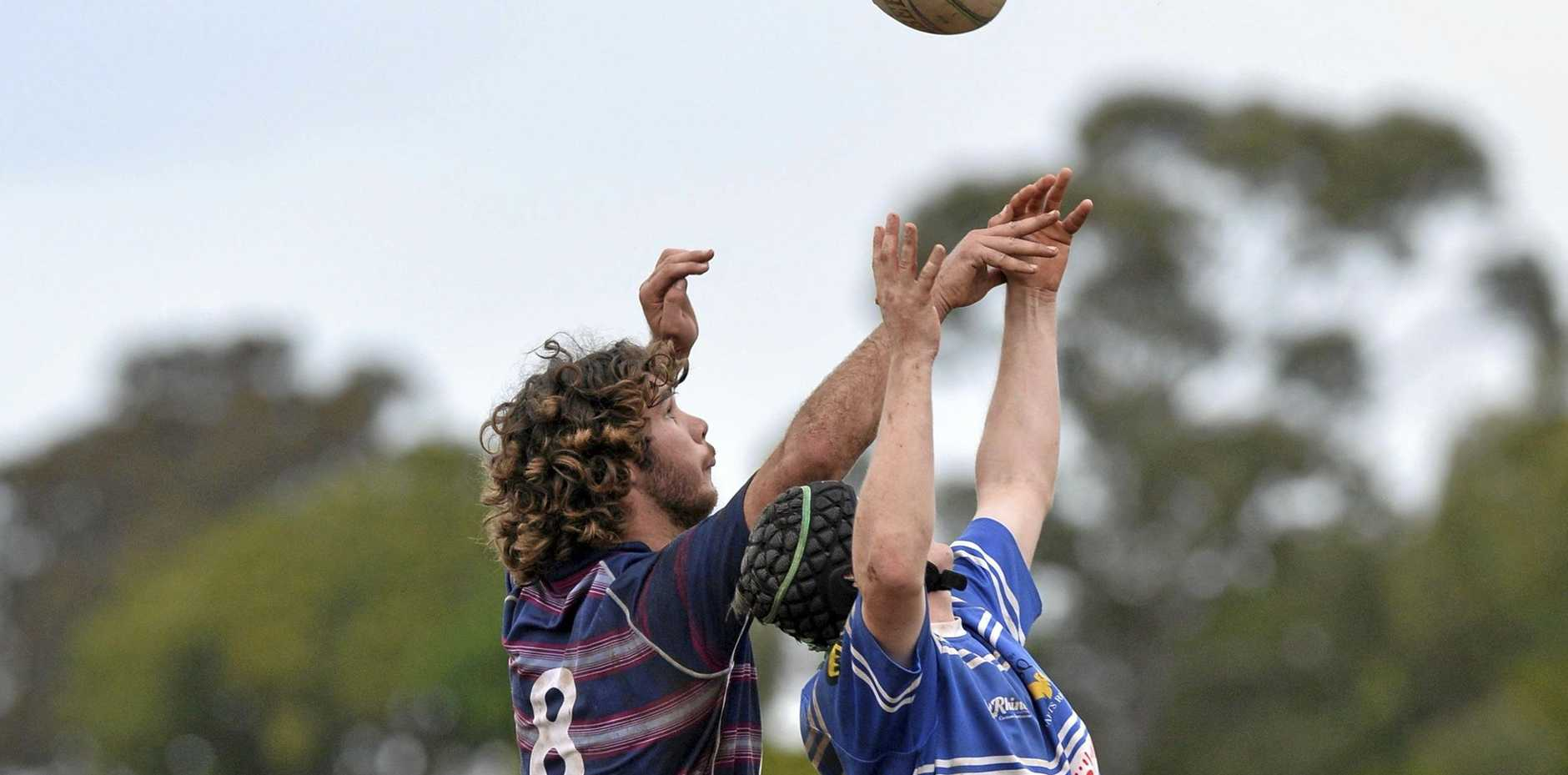 Toowoomba Bears and USQ lock line-out horns in their round-11 Risdon Cup match last season at USQ Oval. The traditional rivals meet today at Heritage Oval.