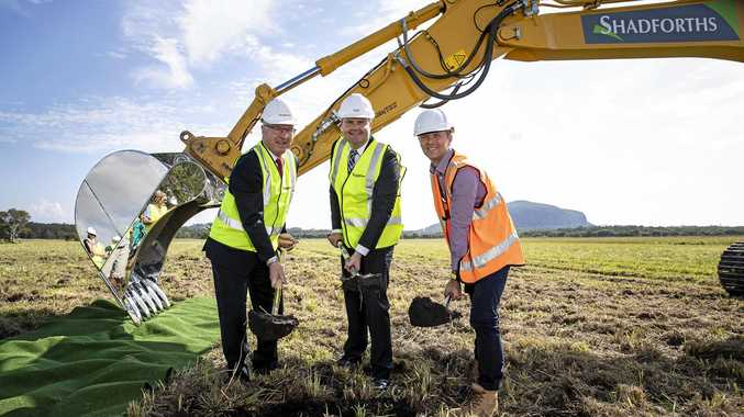 Mark Jamieson, Ted O'Brien and Berry Freshney mark the start of construction of Sunshine Coast Airport's new runway.