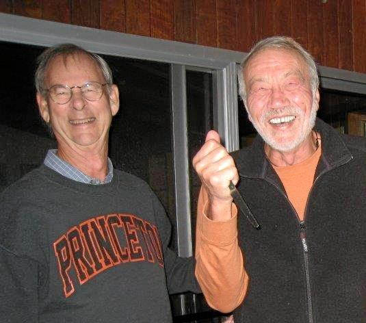 Tim shares a laugh with mate Des on Des's birthday