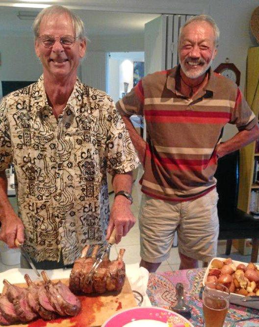 Tim Pettitt and Des Benson share a meal on Australia Day.