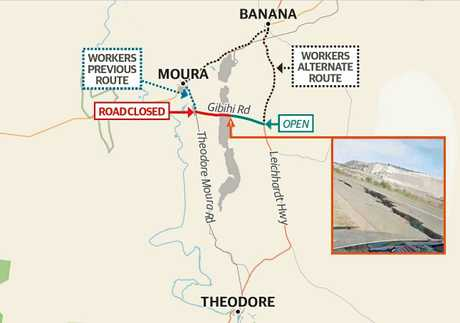 DETOUR: A map of the Gibihi Rd, and alternative route, after a mine blast destroyed the stretch at the Dawson Mine in Moura.