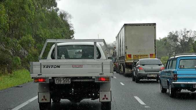 Bruce Highway traffic banked up.