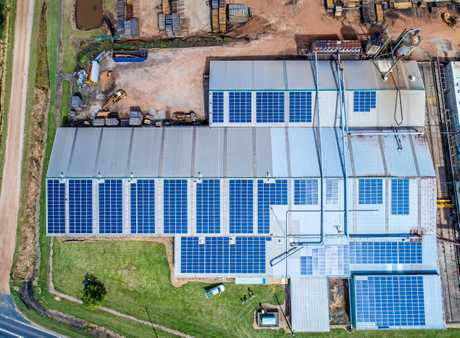 1111 newly installed solar panels on the roof of Notaras and Sons sawmill in South Grafton.