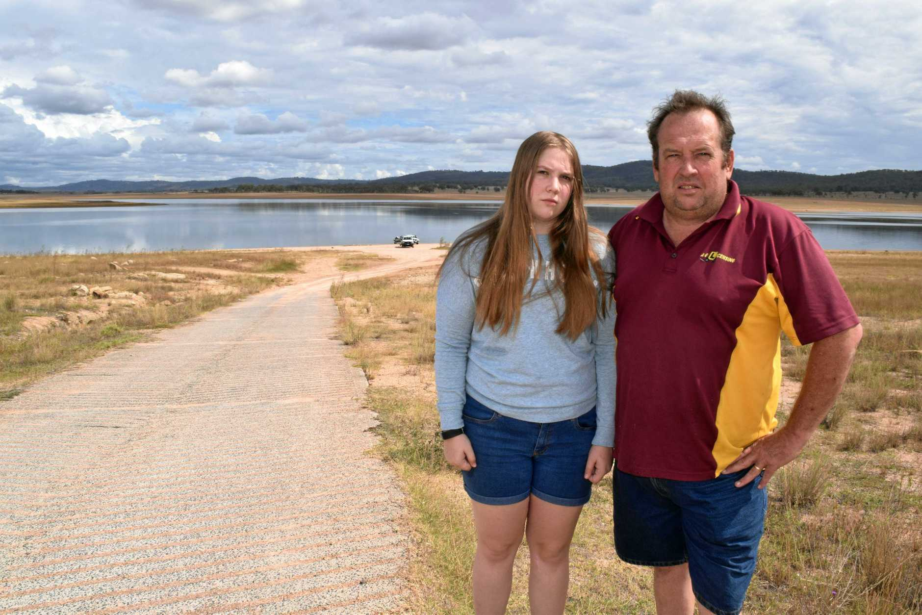Andrew Gale, with daughter Amy. Mr Gale was happy council approved the boat ramp but said the funding came from the wrong source.