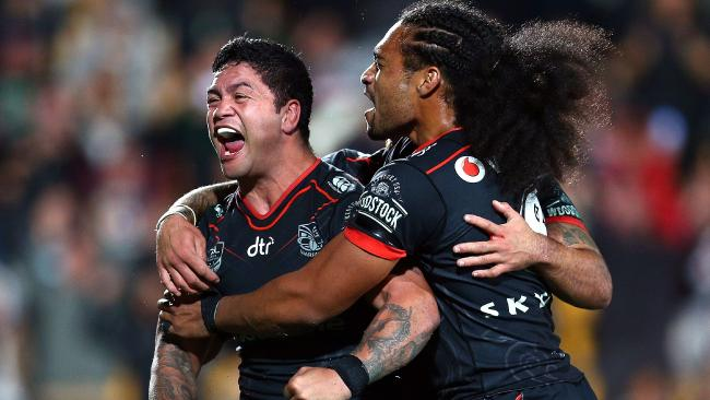 The Warriors' Issac Luke celebrates his try. Picture: Renee McKay/Getty