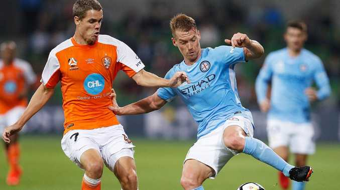 Thomas Kristensen tries to stop Melbourne City star Oliver Bozanic. Picture: Daniel Pockett/Getty