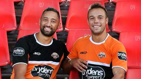 Benji Marshall with halves partner Luke Brooks. Pic: Richard Dobson