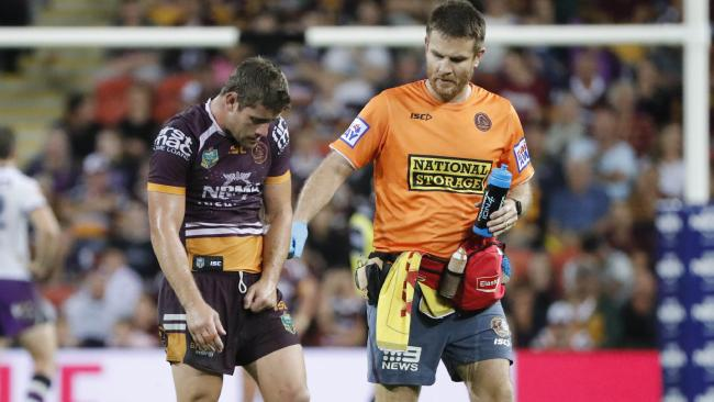 The Broncos' Andrew McCullough faces a significant stretch on the sidelines after injuring his elbow against the Storm. Picture: Glenn Hunt/AAP