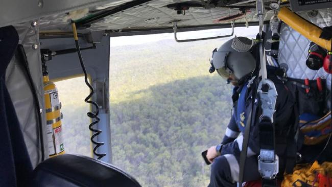 The RACQ Capricorn Rescue helicopter searching for the pilot and his gyrocopter this morning. Picture: RACQ