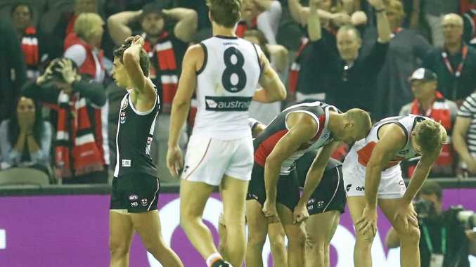 Fans in the stand and players on the field are a picture of disbelief after St Kilda and Greater Western Sydney Giants draw at Etihad Stadium on Saturday.