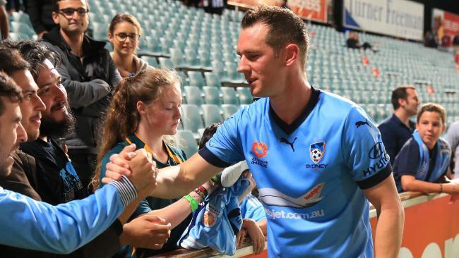 Shane Smeltz with Sydney FC fans. Picture: Mark Evans