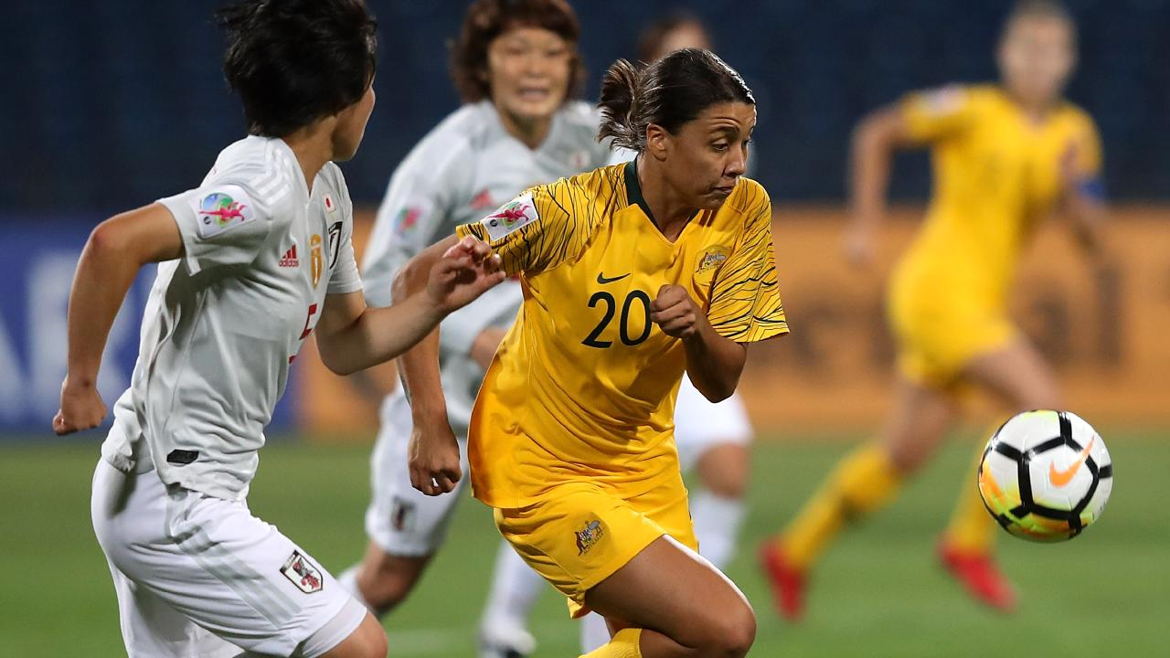 Sam Kerr and Japan's Nana Ichise battle for possession uring the AFC Women's Asian Cup final. Picture: 