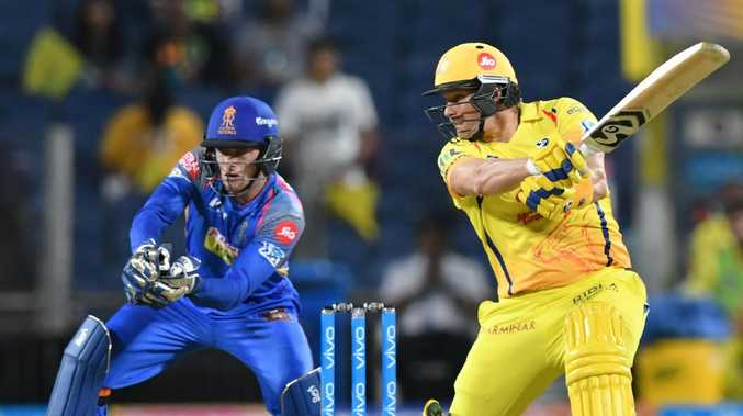 Chennai Super Kings' Shane Watson has made the most of a dropped catch to make 106 off 57 balls. Picture: Punit Paranjpe/Getty